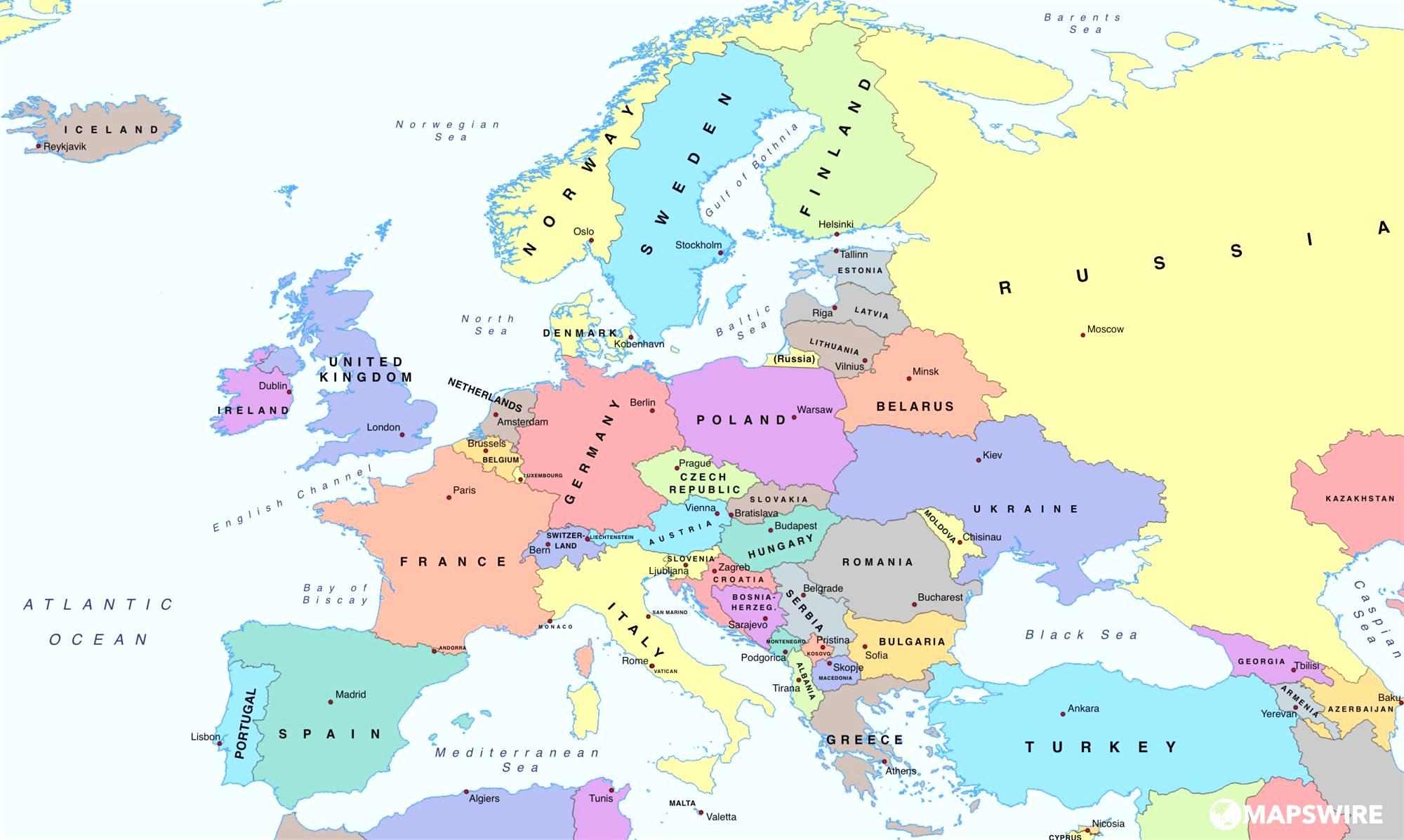 Osterrike Kart Europa Kart Over Europa Som Viser Osterrike Vest