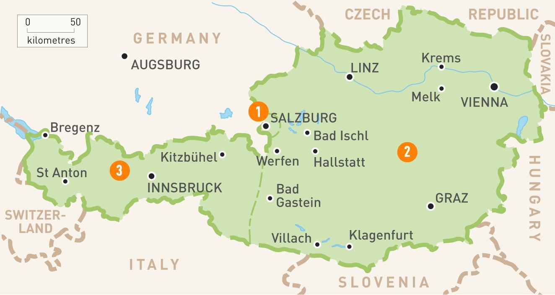 Osterrike Kart Kart Over Osterrike Vest Europa Europa