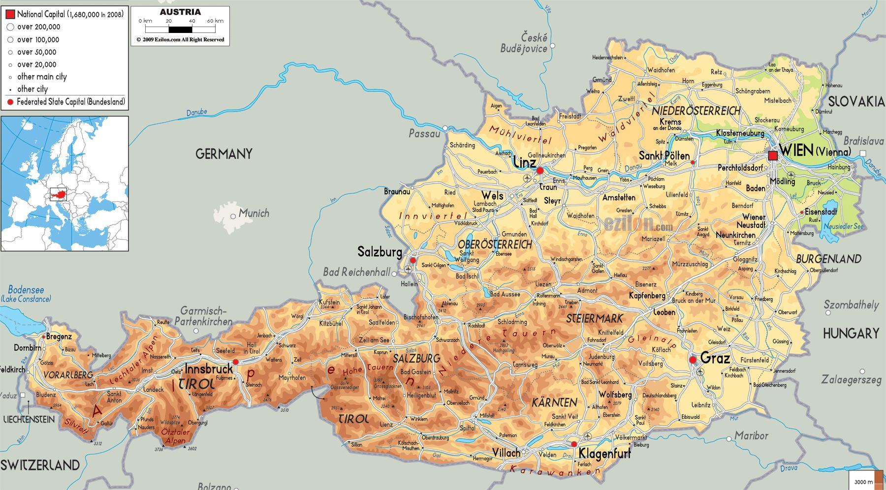 Osterrikske Alpene Kart Osterrike Fjell Kart Vest Europa Europa