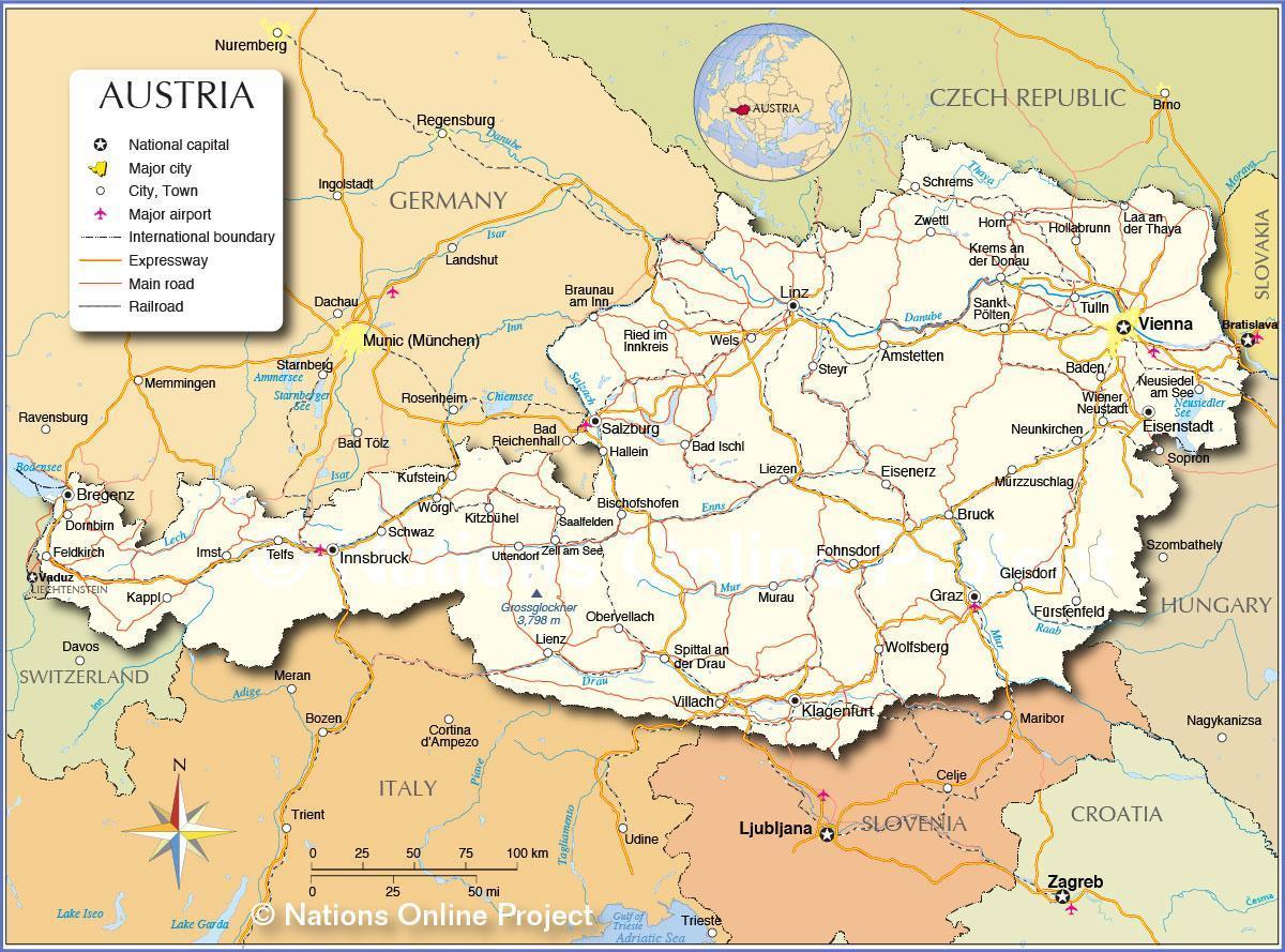 Osterrike Kart Byer Kart Av Osterrike Med Byer Og Tettsteder